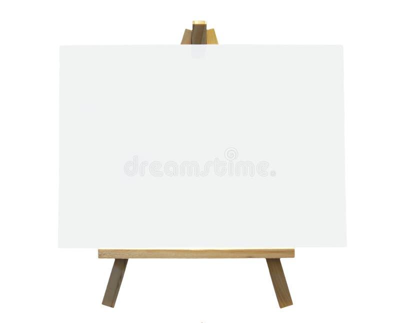 Houten Schildersezel met Wit Canvas stock fotografie