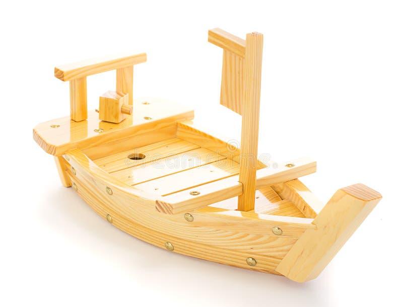 Houten schip of boot voor het zetten van geïsoleerde sushi royalty-vrije stock afbeeldingen