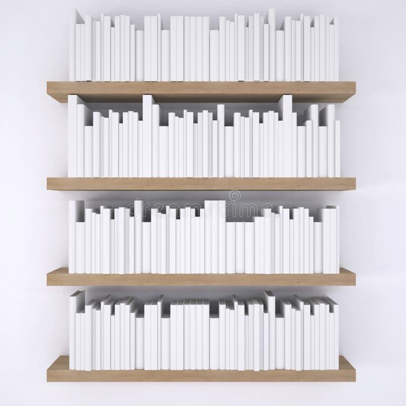 Houten shelfs met boeken op witte muurachtergrond stock illustratie