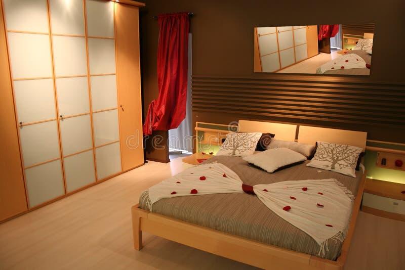 Houten slaapkamer stock foto's