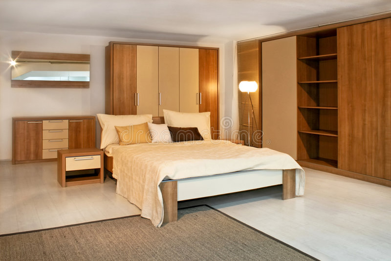 Houten slaapkamer 2 royalty-vrije stock foto