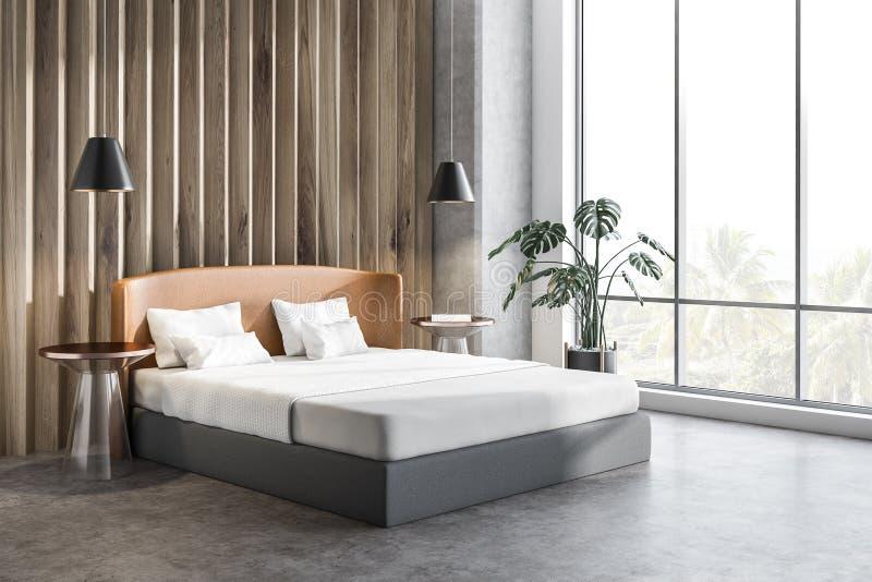 Houten slaapkamerhoek met installatie vector illustratie