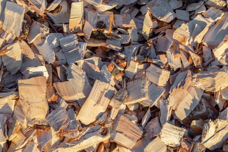 Houten spaander Gerecycleerd hout Milieuvriendelijke verwerking royalty-vrije stock afbeeldingen