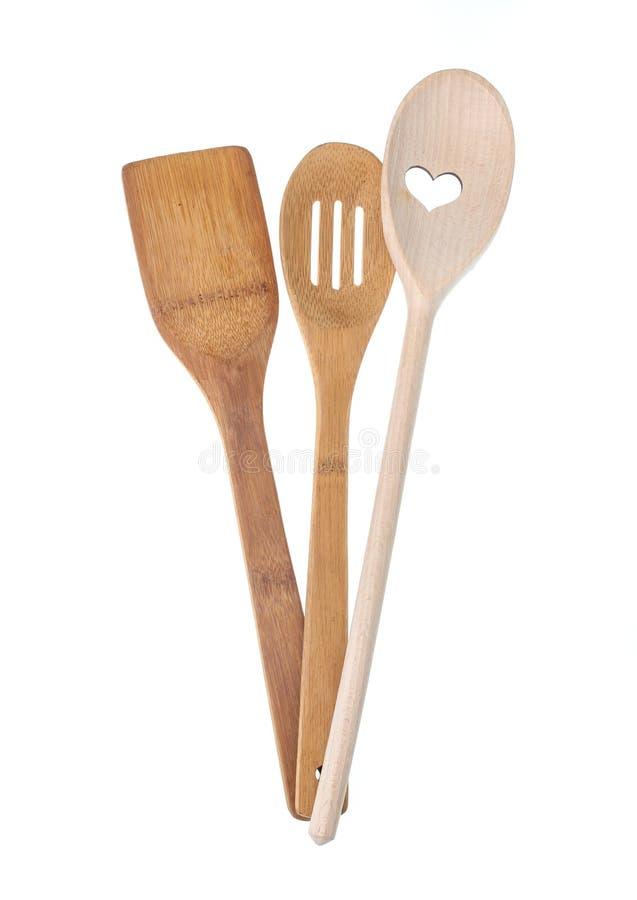 Houten spatels voor het koken stock afbeeldingen