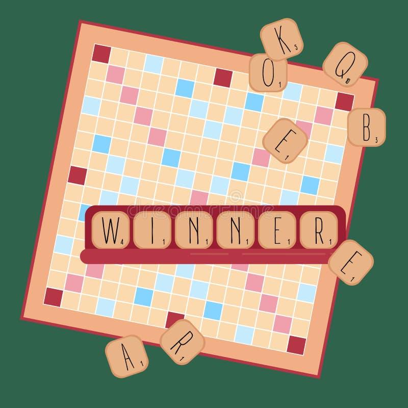 Download Houten Spel Woorden Van Tegelbrieven Winnaar Vector Illustratie - Illustratie bestaande uit spel, leisure: 107702082