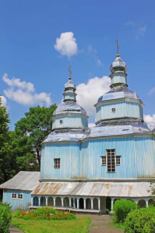 Houten St Nicholas Church (1746), Vinniytsia stock foto