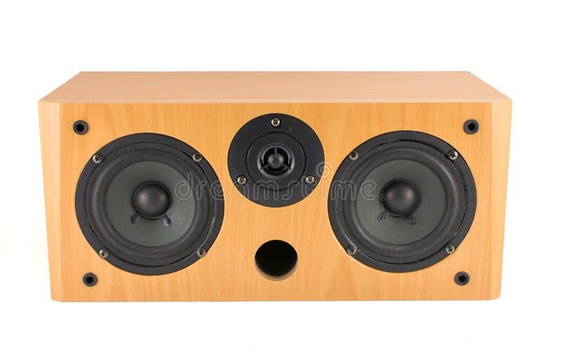 Houten stereospreker op wit stock fotografie
