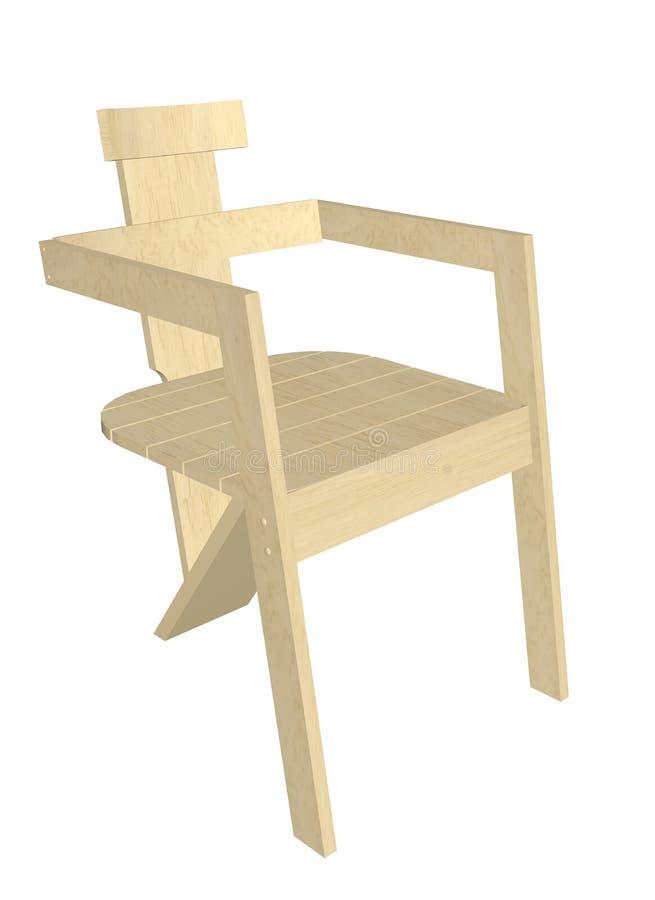 Houten stoel, 3D illustratie vector illustratie
