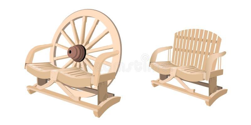 Houten stoelbank vector illustratie