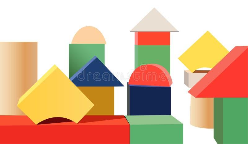 Houten stuk speelgoed kubussenvector vector illustratie