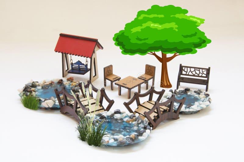Houten stuk speelgoed model vector illustratie