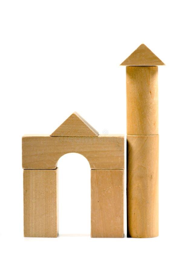Houten stuk speelgoed, toren stock fotografie