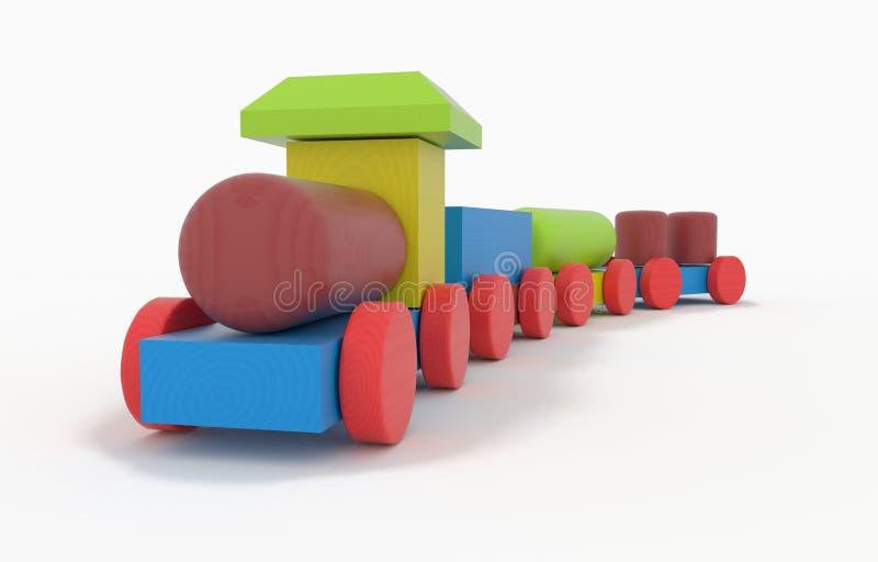 Houten stuk speelgoed trein royalty-vrije illustratie