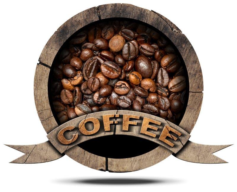 Houten Symbool met Koffiebonen royalty-vrije illustratie
