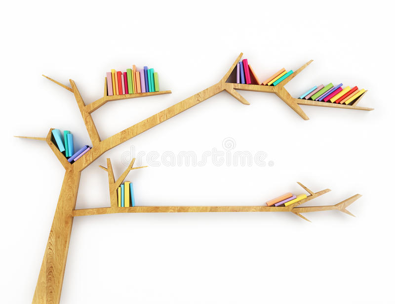 Houten takplank met kleurrijke die boeken op witte achtergrond worden geïsoleerd royalty-vrije illustratie
