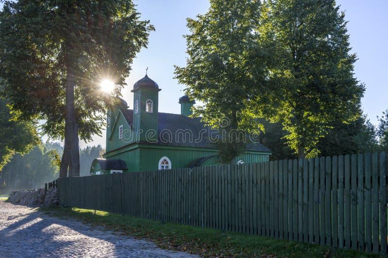 Houten tatar moskee in Kruszyniany, Polen royalty-vrije stock afbeeldingen