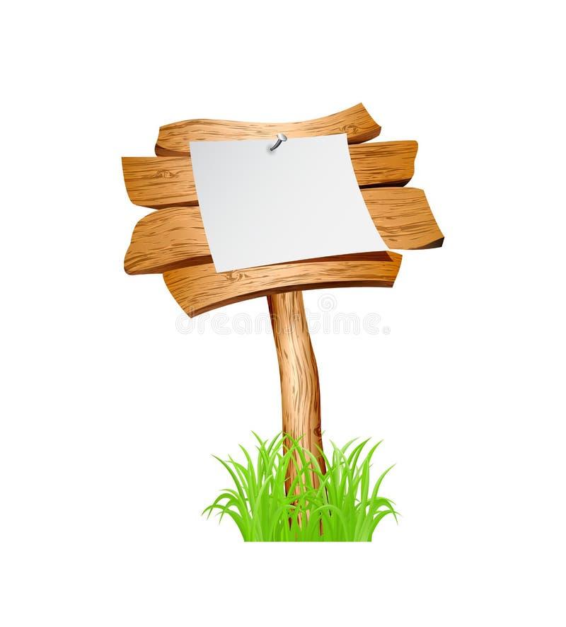 Houten teken in gras stock illustratie