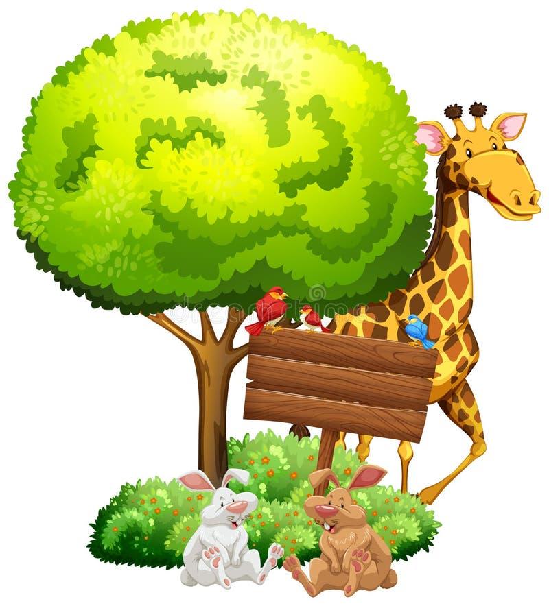 Houten teken met giraf en konijnen royalty-vrije illustratie
