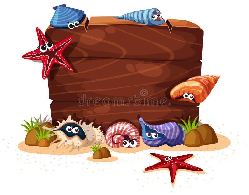 Houten teken met zeeschelpen en zeester op achtergrond stock illustratie