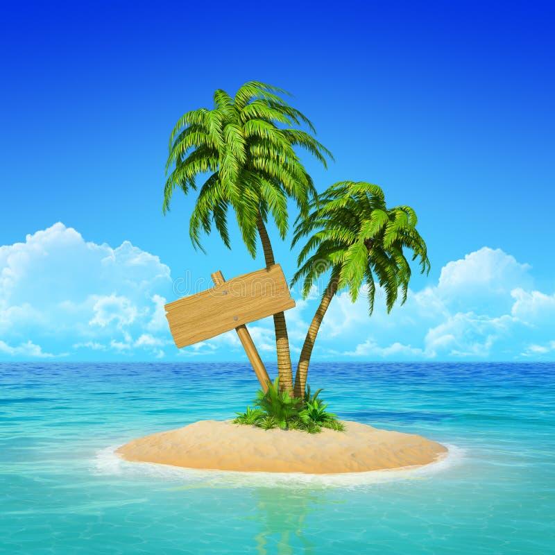 Houten voorzie op tropisch eiland met palmen van wegwijzers. stock afbeelding