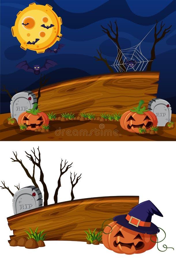 Houten tekenmalplaatje met Halloween-themaachtergrond royalty-vrije illustratie