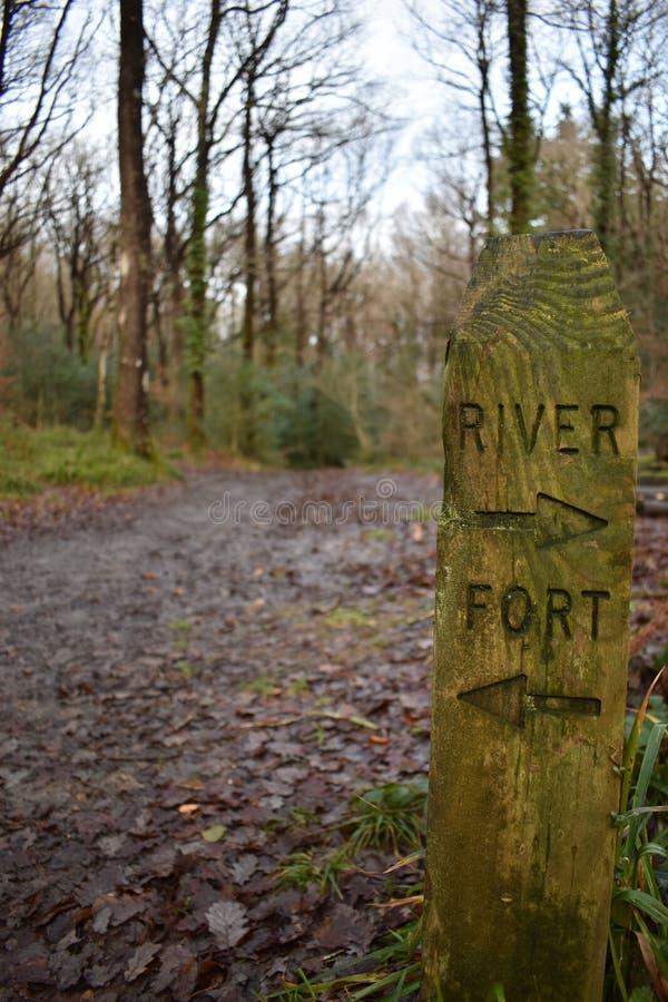 Houten tekenpost die op de richtingen wijzen aan een rivier en een fort royalty-vrije stock fotografie