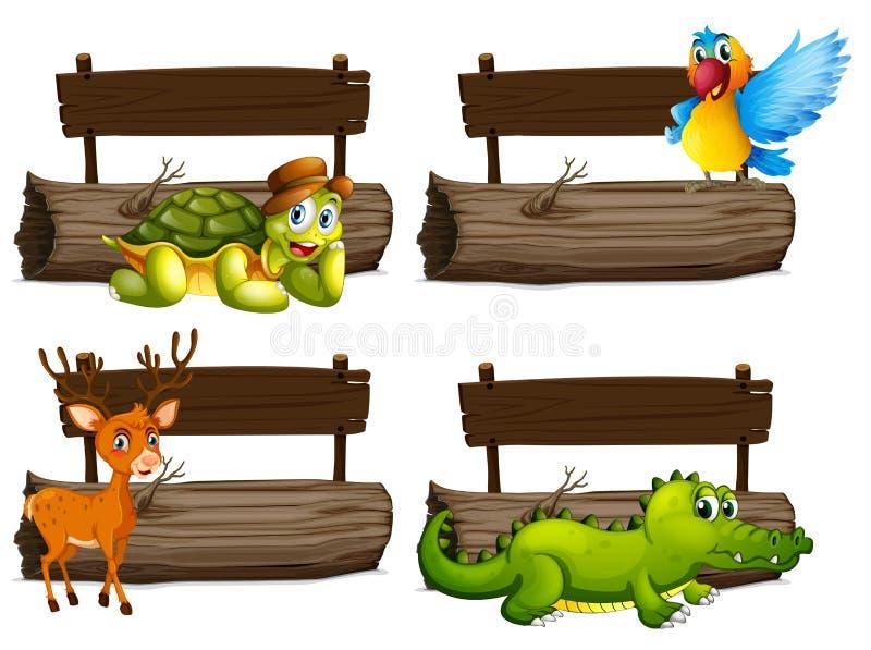 Houten tekens met vele dieren stock illustratie