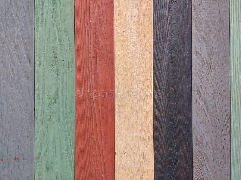 Houten Textuur, Grijze, Groene, Rode, Gele, Zwarte Houten Achtergrond, de Kleurrijke Muur van de Houtplank stock fotografie