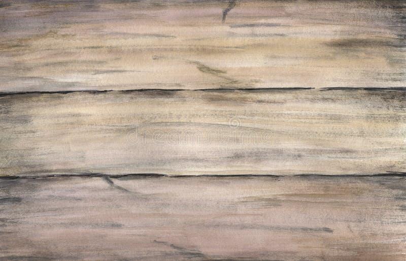 Houten textuur met oude geschilderde raad Waterverfhand die artistieke realistische illustratie voor ontwerp, achtergrond trekken royalty-vrije stock afbeeldingen