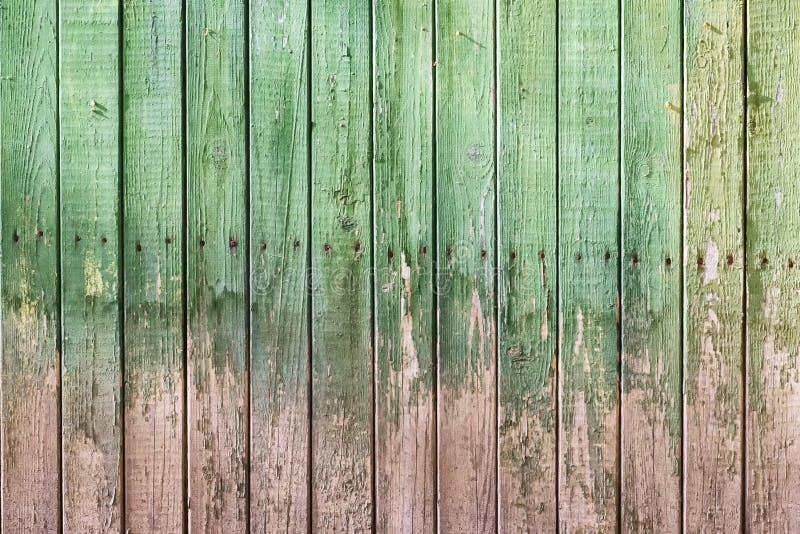 Houten textuur van oude raad met sjofele groene verf stock afbeeldingen