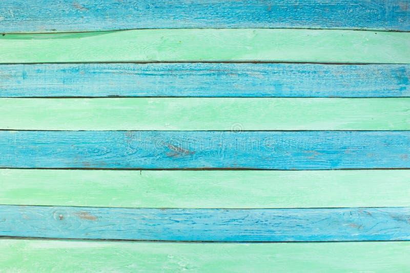 Houten textuurachtergrond Hardhout, houten korrel, organische materi?le grungestijl groene en blauwe houten oppervlakte hoogste m royalty-vrije stock fotografie