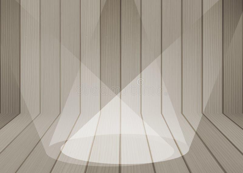 Houten textuurachtergrond met schijnwerper stock afbeelding