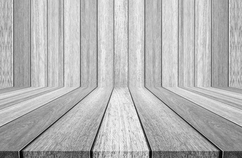 Houten textuurachtergrond witte houten muur en vloer stock afbeelding