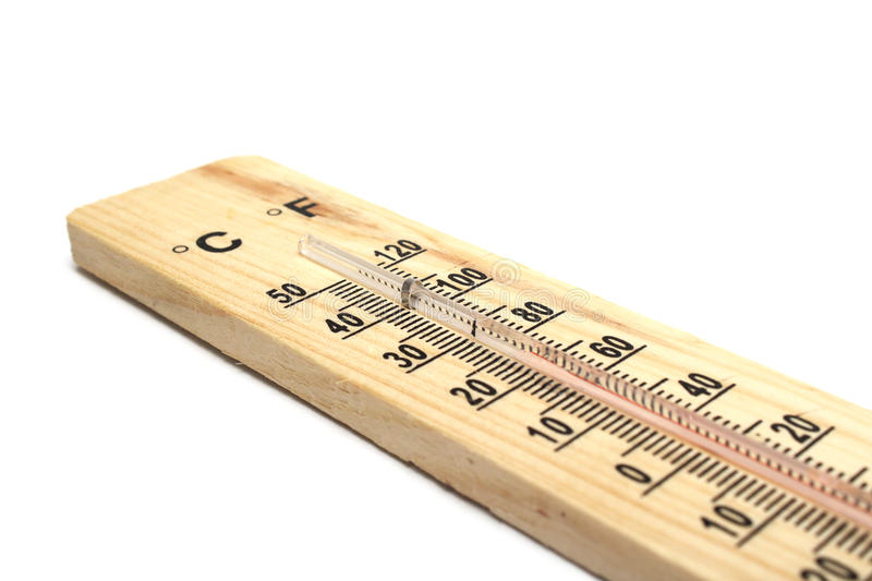 Houten thermometer op witte achtergrond stock foto
