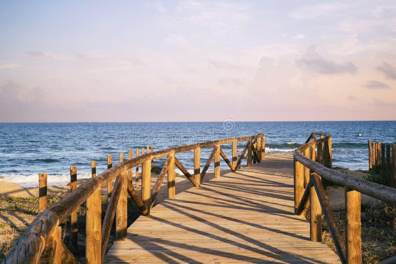 Houten toegang tot het strand op zandduinen stock foto's