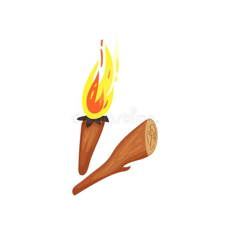 Houten toorts met het branden van brand Stuk van hout Natuurlijke aansteker Symbolen van Stenen tijdperk Vlakke vector voor mobie stock illustratie