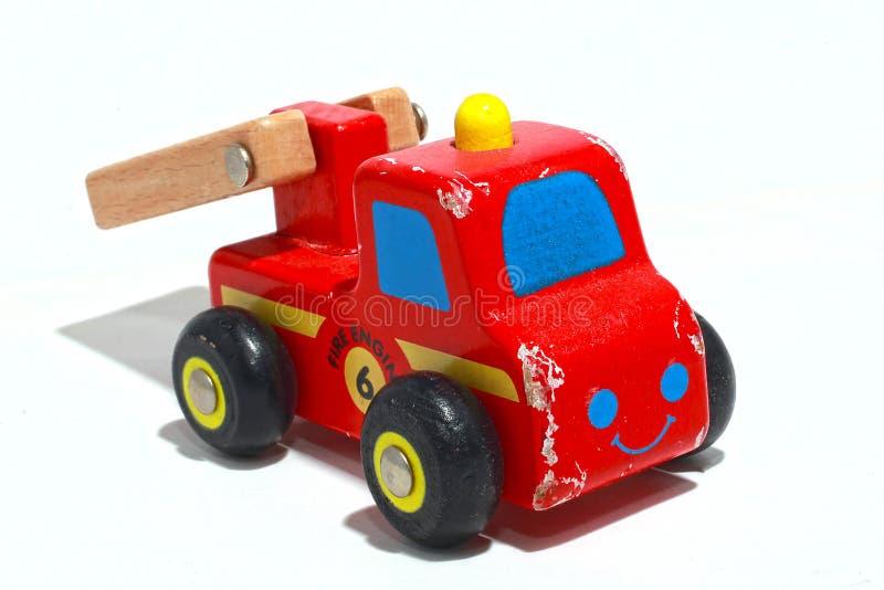 Houten Toy Fire Truck royalty-vrije stock foto's