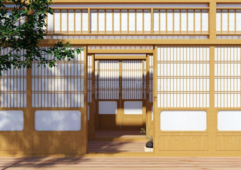 Houten traditionele Japanse Shoji-deur, Japanse traditionele de bouwbuitenkant stock afbeeldingen