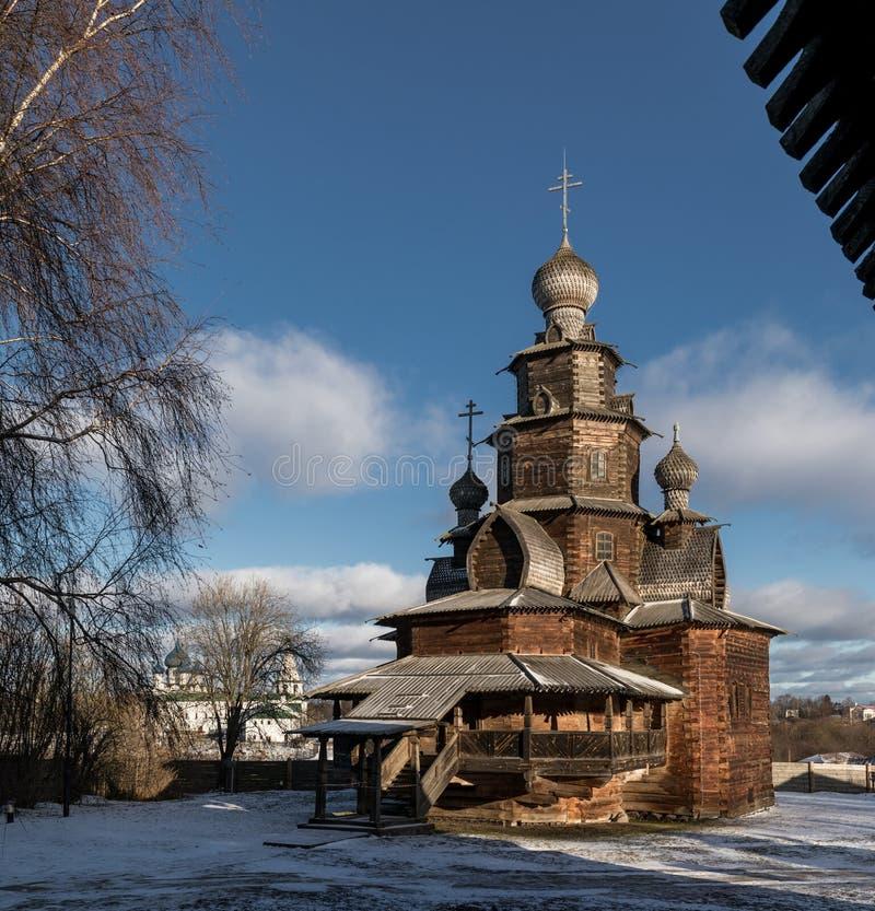 Houten Transfiguratiekerk Suzdal Rusland stock fotografie