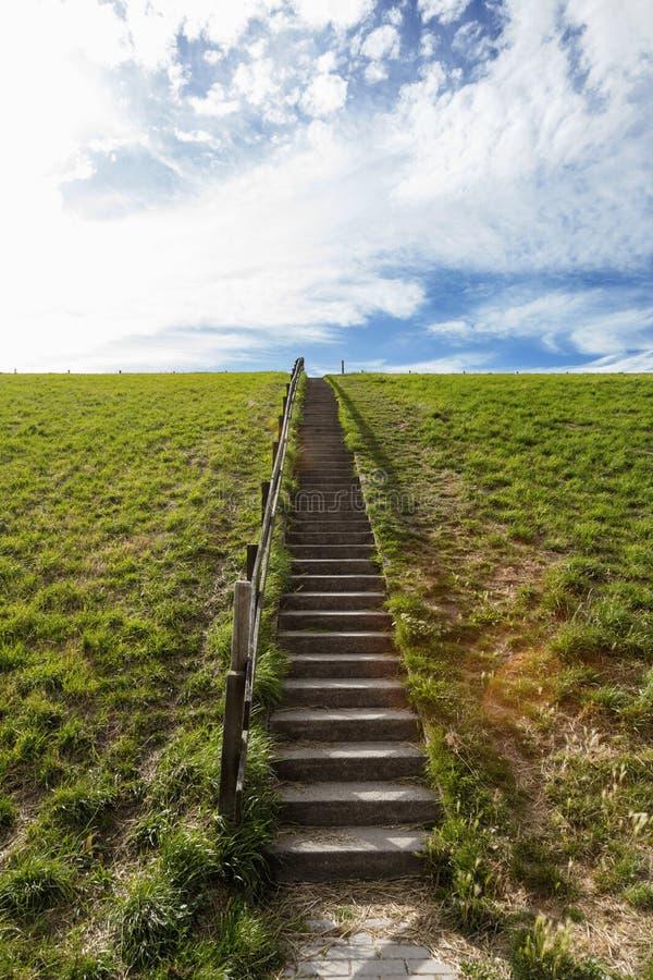 Houten treden en groene heuvels stock fotografie