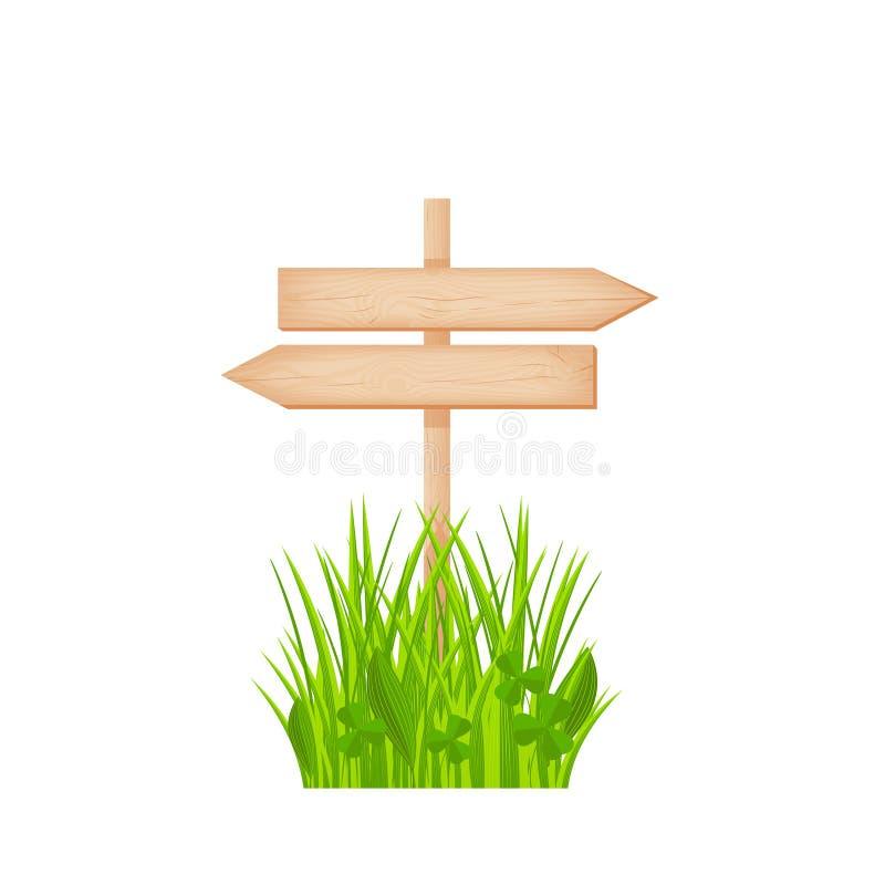 Houten twee tegenovergesteld pijlenuithangbord op een pool bij het grasgazon royalty-vrije illustratie