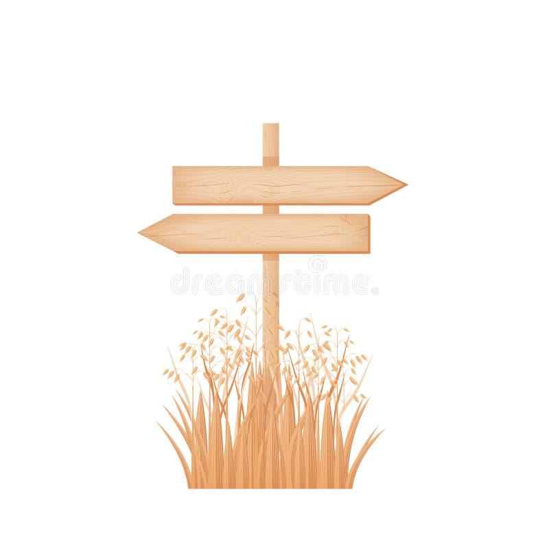 Houten twee tegenovergesteld pijlenuithangbord op een pool bij het havergebied vector illustratie