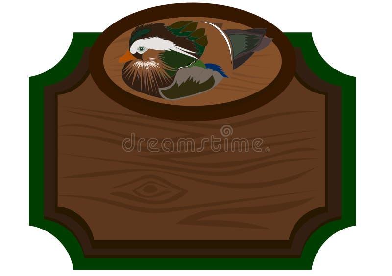 Houten uithangbord met eend stock illustratie