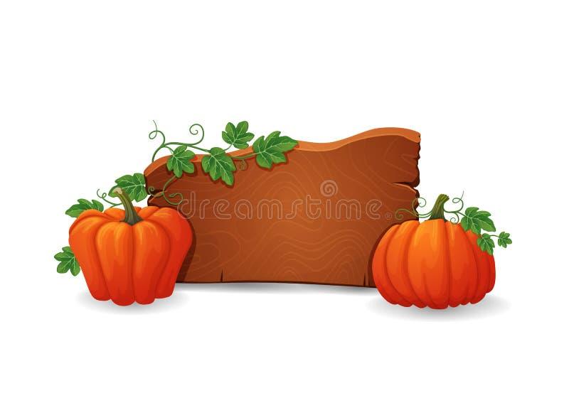 Houten uithangbord met rijpe oranje pompoen met groene bladeren en wijnstokken stock illustratie