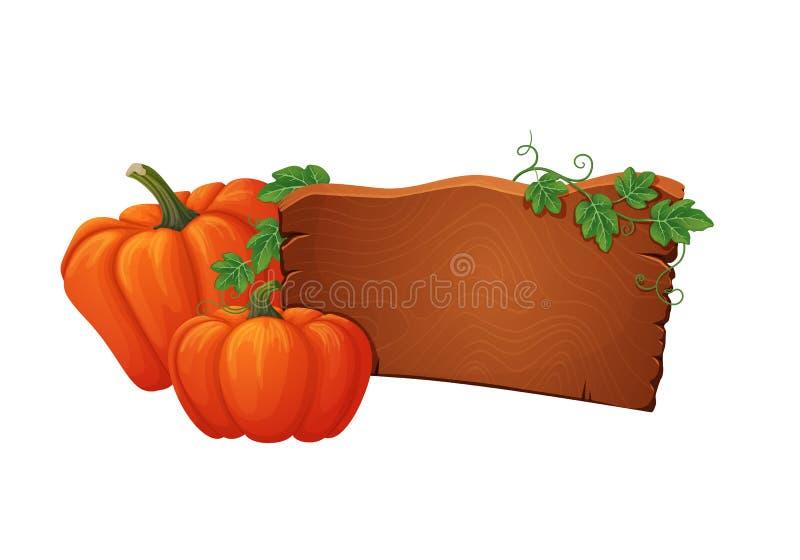 Houten uithangbord met twee rijpe oranje pompoenen met groene wijnstokken en bladeren stock illustratie