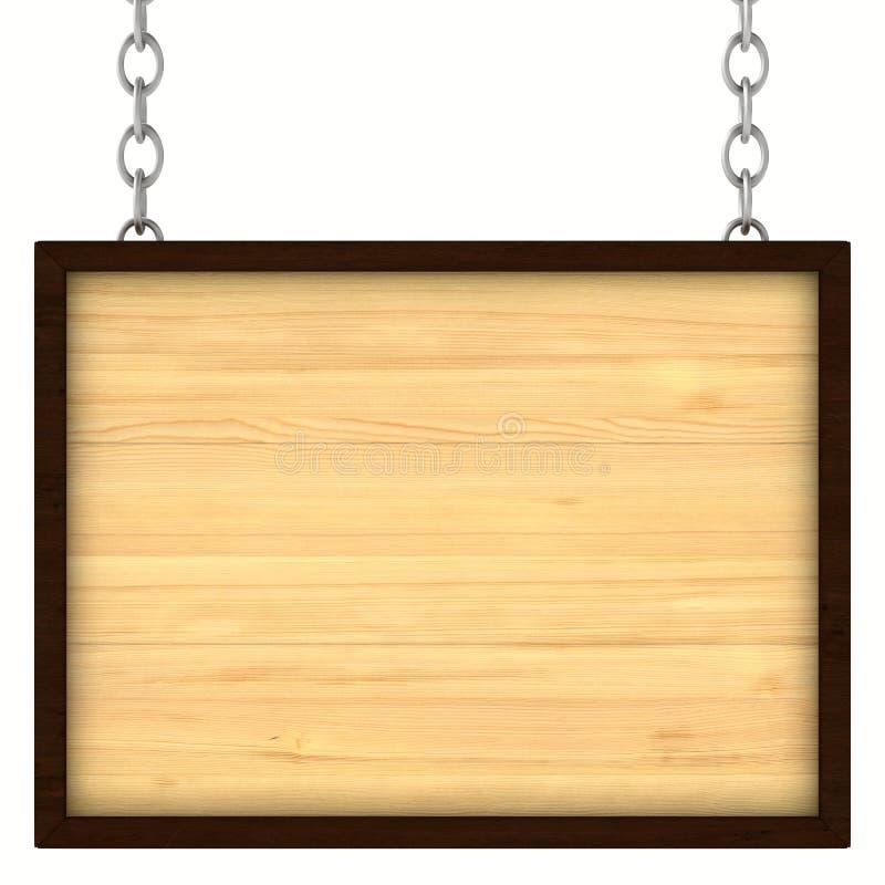 Houten uithangbord op de kettingen vector illustratie