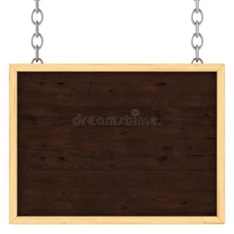 Houten uithangbord op de kettingen stock illustratie