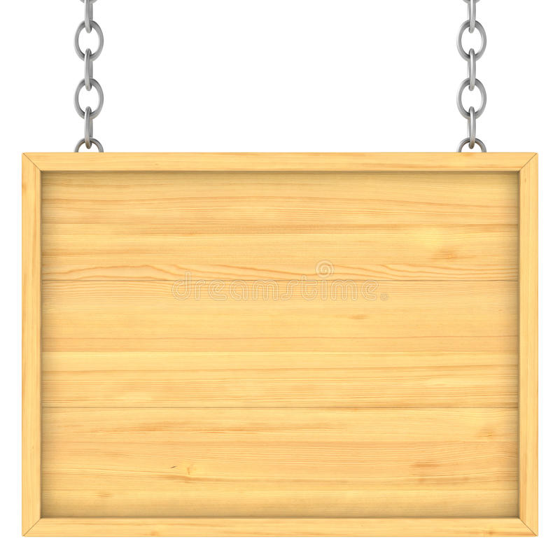Houten uithangbord op de kettingen royalty-vrije illustratie