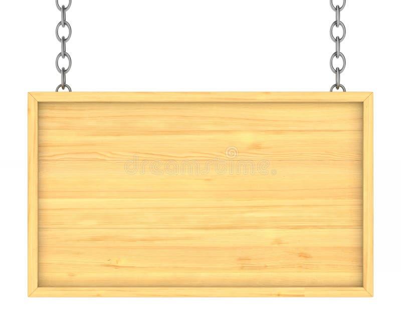 Houten uithangbord op de kettingen Geïsoleerdea 3D vector illustratie