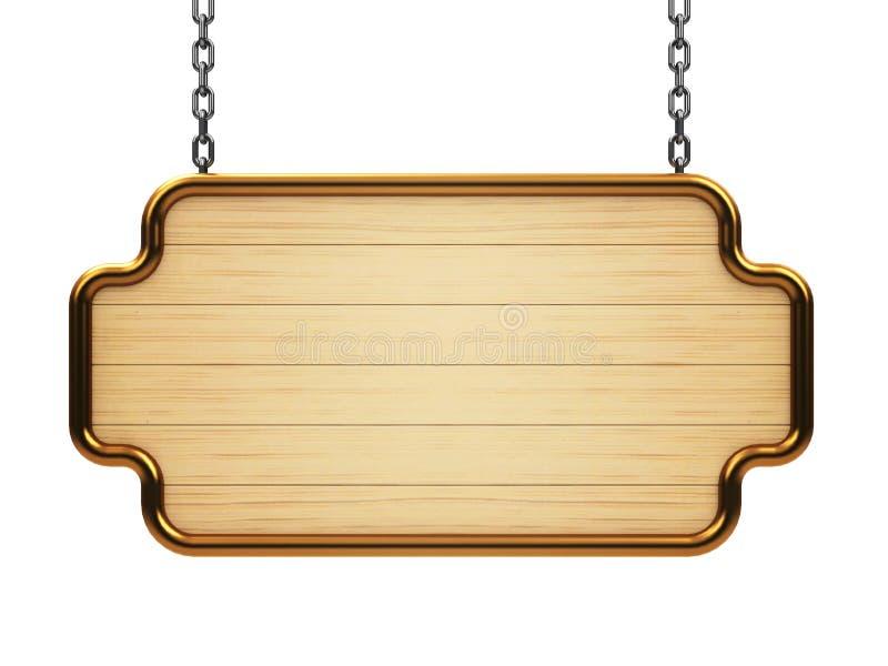 Houten uithangbord op ketting vector illustratie